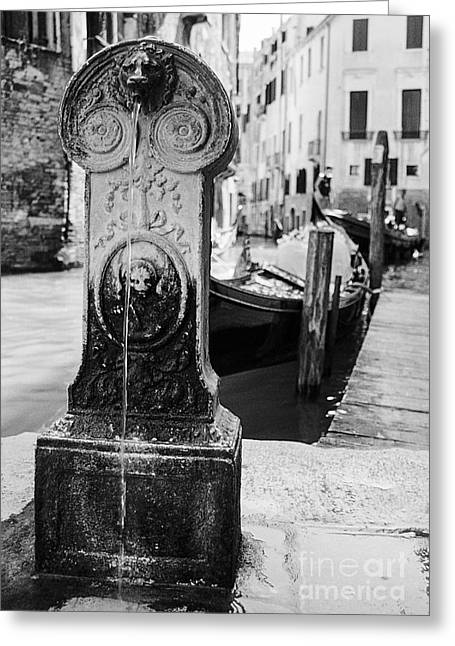 Drinking Fountain In An Alley In Venezia Greeting Card by Luigi Morbidelli