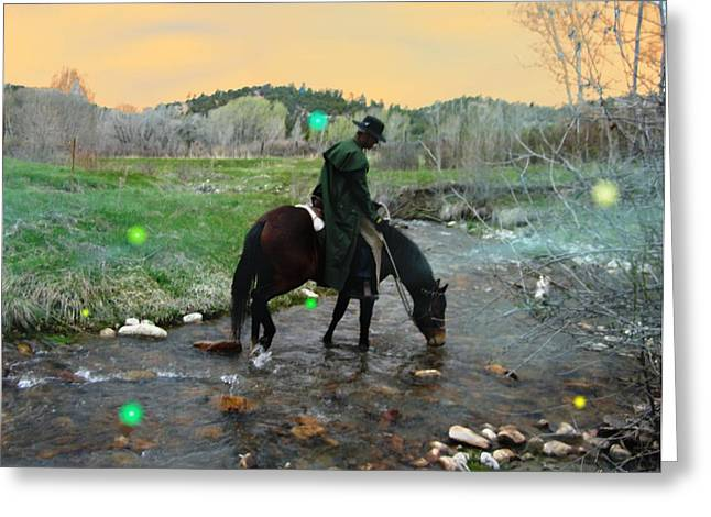 Drinking In The River Horseman Lit By Fireflies Greeting Card