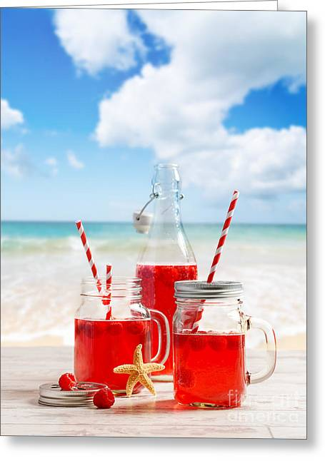 Drinks At The Beach Greeting Card by Amanda Elwell
