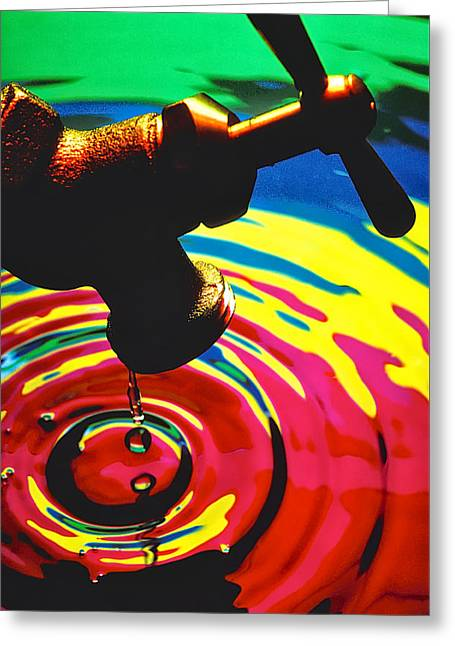 Dripping Faucet Greeting Card by Garry Gay