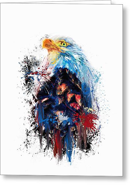 Drippy Jazzy Bald Eagle Colorful Bird Art By Jai Johnson Greeting Card