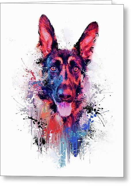 Drippy Jazzy German Shepherd Colorful Dog Art By Jai Johnson Greeting Card by Jai Johnson