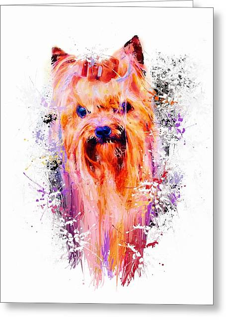Drippy Jazzy Yorkshire Terrier Colorful Dog Art By Jai Johnson Greeting Card