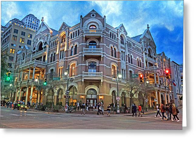 Driskill Hotel Light The Night Greeting Card by Betsy Knapp