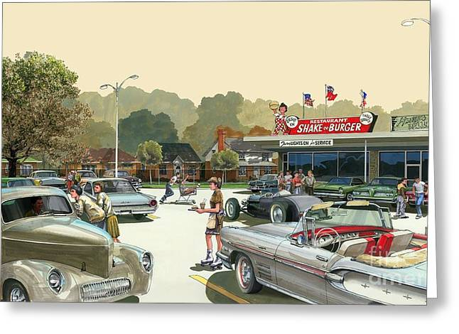 Greeting Card featuring the painting Drive In Days by Michael Swanson