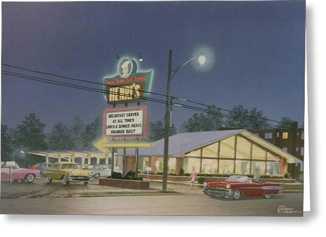 Drive-in Restaurant Greeting Card by C Robert Follett