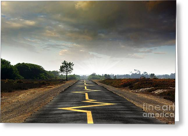Asphalt Greeting Cards - Drive Safely Greeting Card by Carlos Caetano