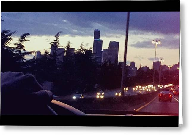 Drive Thru Seattle #enlight #highway Greeting Card