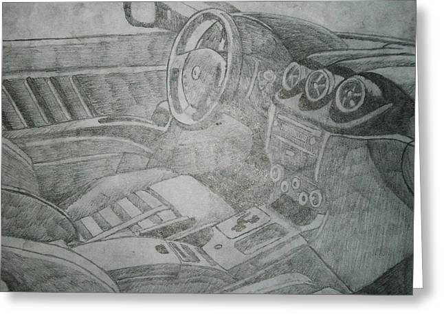 Steering Drawings Greeting Cards - Drivers Seat Greeting Card by Ryan Flanagan