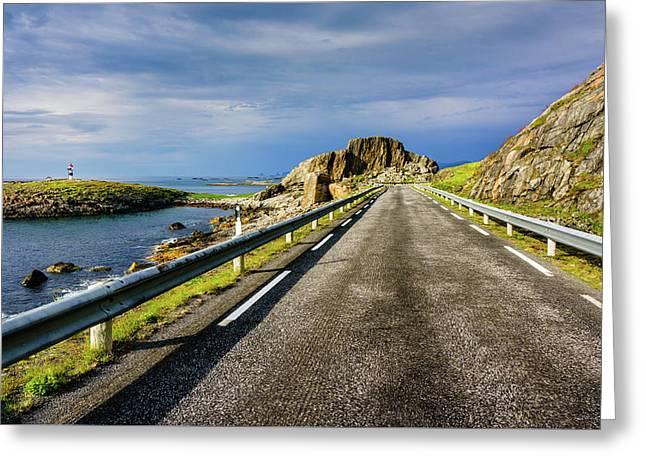 Driving Along The Norwegian Sea Greeting Card