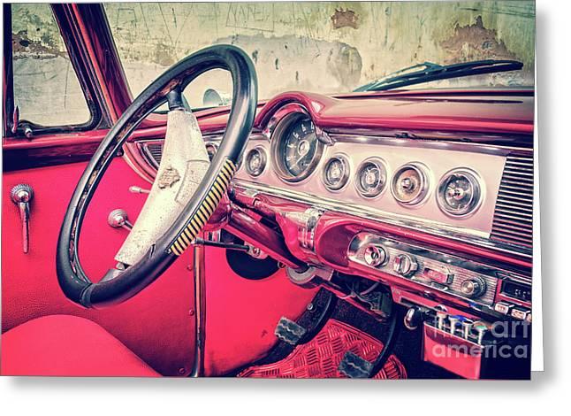 Driving In Havana Greeting Card