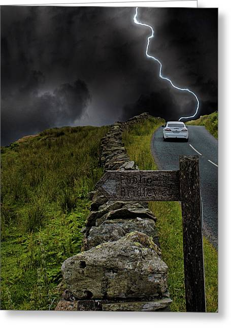 Driving Into The Storm Greeting Card by Martin Newman