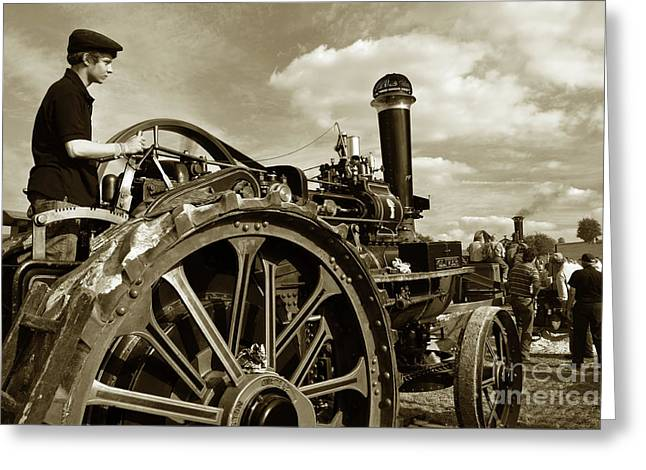 Driving The Engine Greeting Card by Rob Hawkins