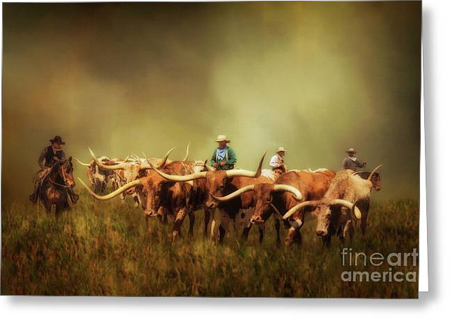 Driving The Herd Greeting Card by Priscilla Burgers