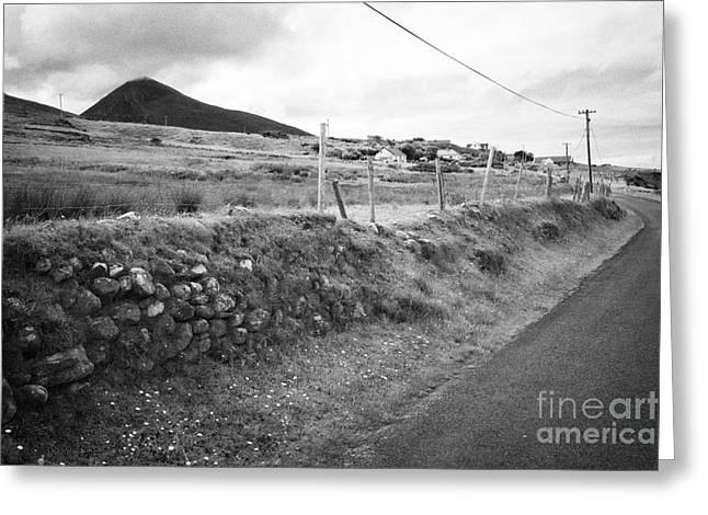 driving the wild atlantic way coastal route doogort Achill Island County Mayo Ireland Greeting Card by Joe Fox