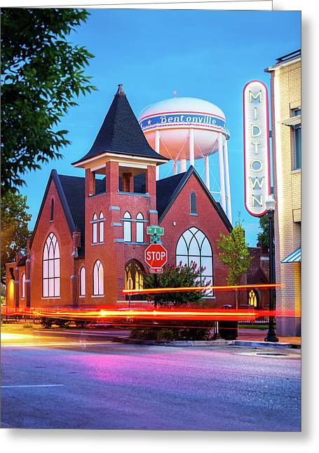 Driving Through 2nd And A Street - Bentonville Arkansas Greeting Card by Gregory Ballos