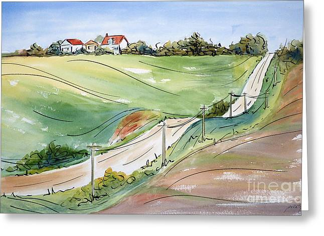 Gravel Road Greeting Cards - Driving Through Iowa Greeting Card by Pat Katz