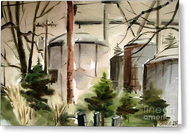 Greeting Card featuring the painting Drizzle Mists Midst Furry Pines Plein Air by Charlie Spear