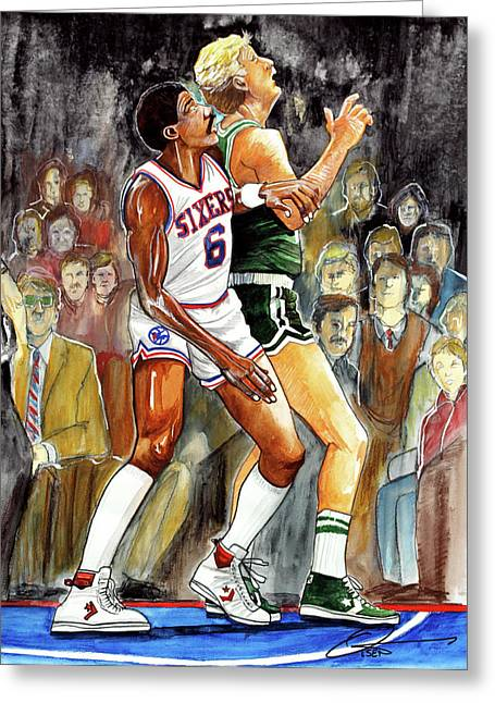Larry Bird Drawings Greeting Cards - Dr.J vs. Larry Bird Greeting Card by Dave Olsen