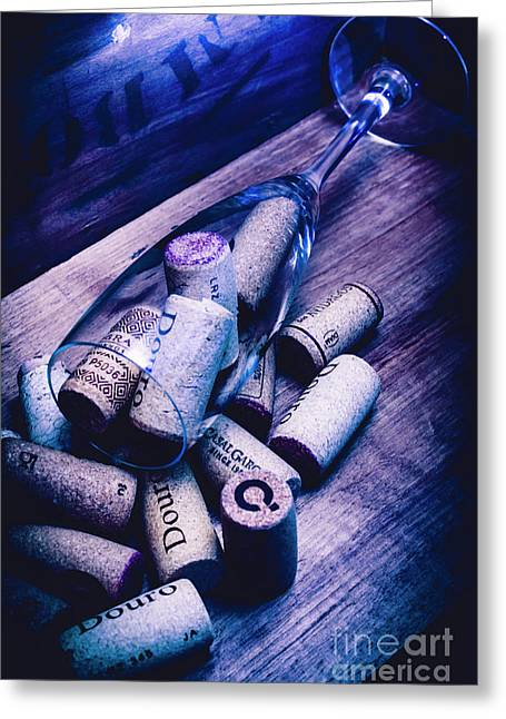 Dropped Champagne Flute With Wine Corks Greeting Card by Jorgo Photography - Wall Art Gallery