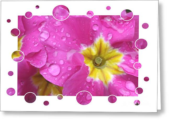 Bubbly Pink Raindrops  Greeting Card by Carol Groenen