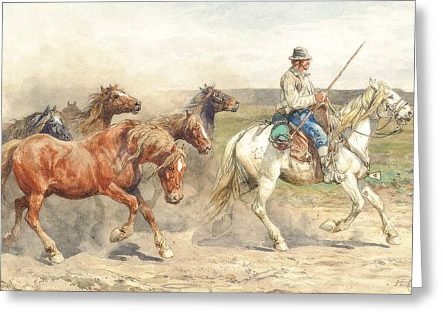 Droving Horses In The Roman Campagna Greeting Card by Enrico Coleman