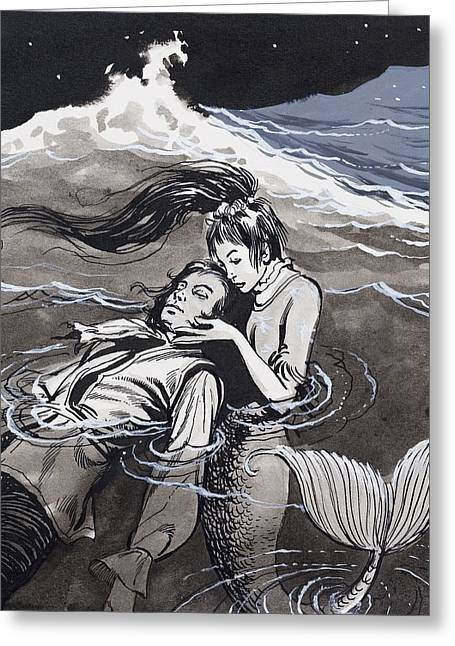 Drowned Man Being Assisted By A Mermaid Greeting Card