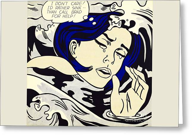 Drowning Girl - Aka Secret Hearts, I Don't Care Or I'd Rather Sink Greeting Card