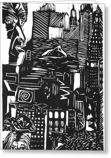 Lino Print Greeting Cards - Drowning in Metropolis Greeting Card by Darkest Artist