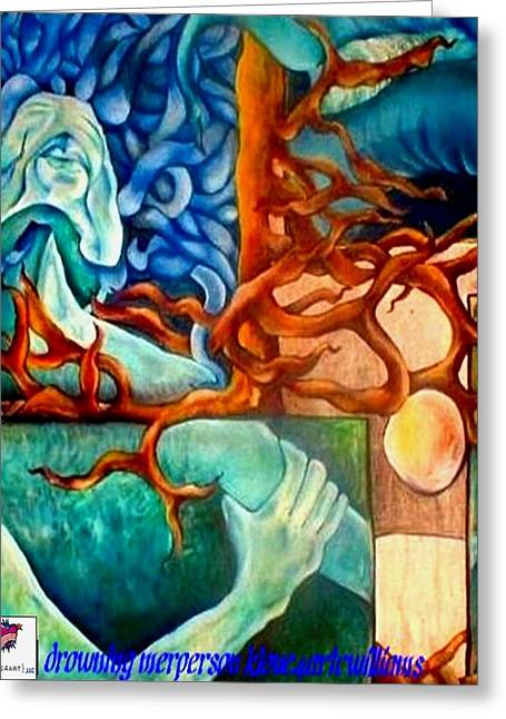 Greeting Card featuring the painting Drowning Merperson by Carol Rashawnna Williams