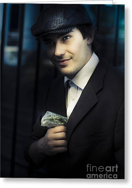 Drug Dealer With Marijuana Greeting Card