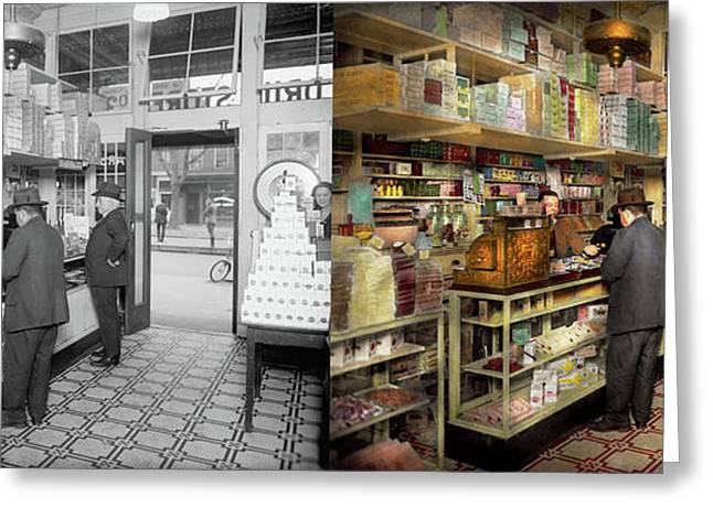 Drugstore - Exact Change Please 1920 - Side By Side Greeting Card by Mike Savad