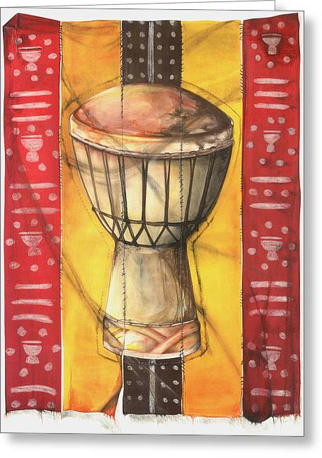 African-american Mixed Media Greeting Cards - Drum Greeting Card by Anthony Burks Sr