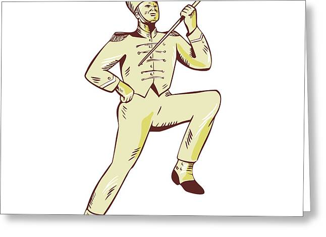Drum Major Marching Band Leader Etching Greeting Card by Aloysius Patrimonio