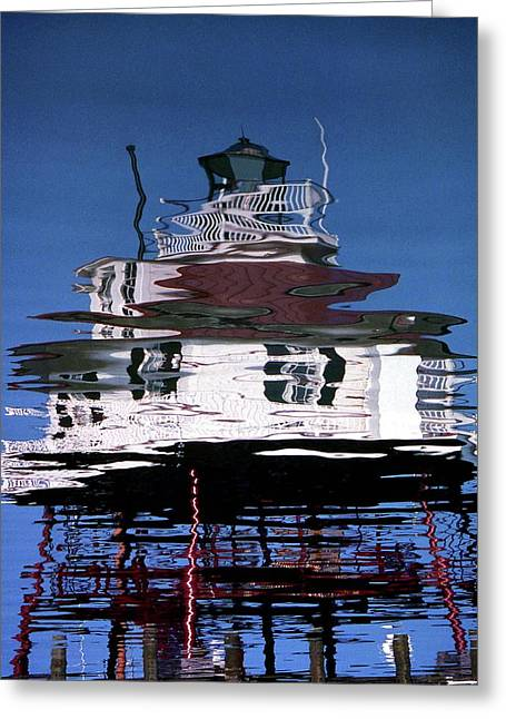 Drum Point Lighthouse Reflection Greeting Card by Skip Willits