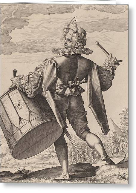 Drummer Greeting Card by Hendrik Goltzius