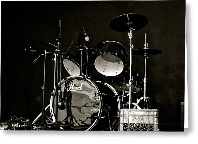 Drums And Crate Greeting Card by Linda Bianic
