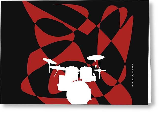 Drums In Black Strife Greeting Card