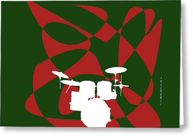 Drums In Green Strife Greeting Card