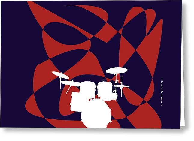 Drums In Purple Strife Greeting Card