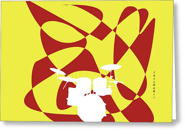 Drums In Yellow Strife Greeting Card