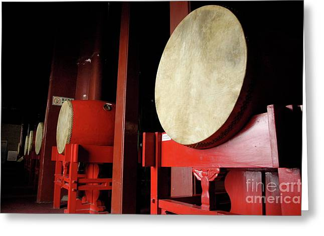 Drums Lined Up In A Row Inside A Drum Tower Greeting Card by Sami Sarkis