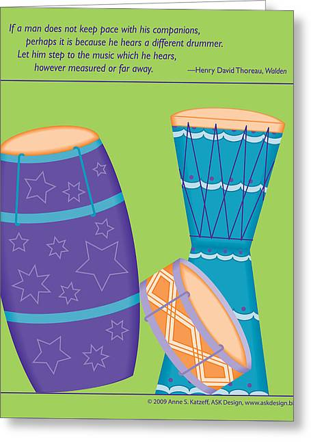 Drums - Thoreau Quote Greeting Card