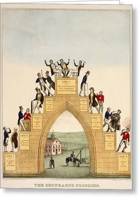 Alcoholism Greeting Cards - Drunkards Progress, 1846 Greeting Card by Granger