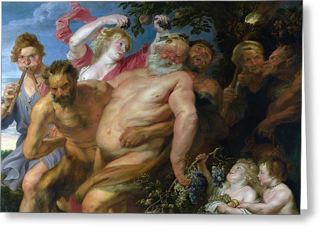 Drunken Silenus Supported By Satyrs Greeting Card