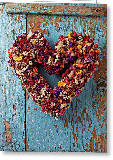 Peeling Greeting Cards - Dry flower wreath on blue door Greeting Card by Garry Gay