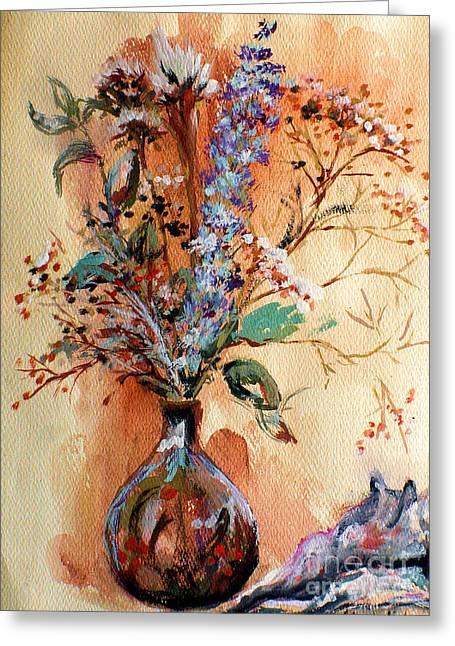 Dry Flowers Greeting Card by Linda Shackelford