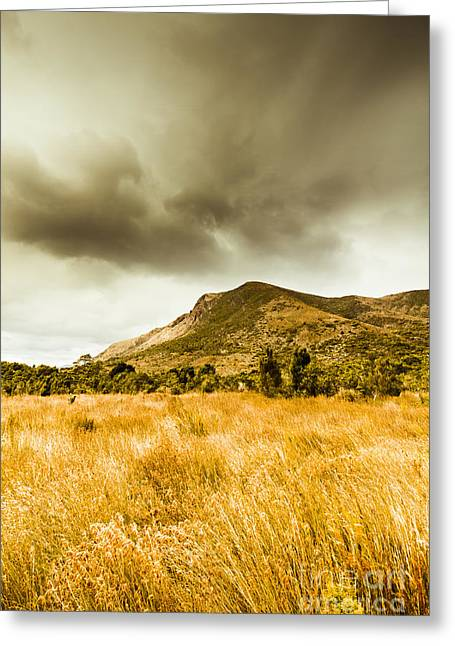 Dry Grassland And Stormy Mountains  Greeting Card