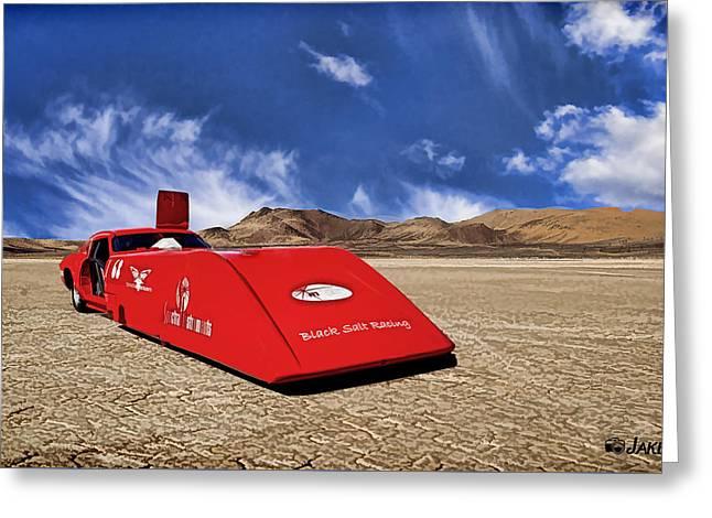 Dry Lake Hot Rod Racecar Greeting Card by Jake Steele