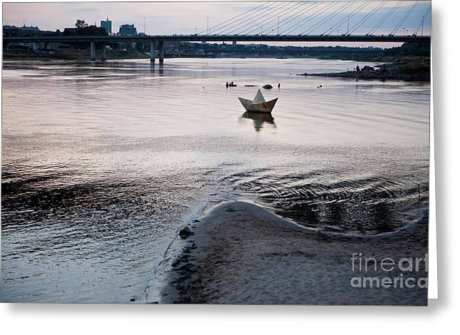 Dry Vistula River Twilight View Greeting Card by Arletta Cwalina